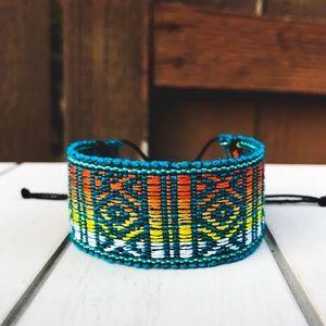Boho Bright Turquoise/Sunset Wide Woven Bracelet
